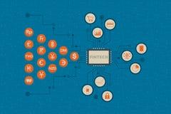 Finansiellt teknologi- och affärsinvesteringbegrepp stock illustrationer