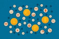 Finansiellt teknologi- och affärsinvesteringbegrepp royaltyfri illustrationer