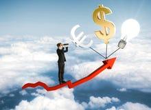 Finansiellt tillväxt- och forskningbegrepp Arkivfoto