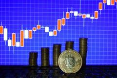Finansiellt tillväxtbegrepp med den guld- Bitcoins stegen på forexdiagrambakgrund faktiska pengar royaltyfri bild