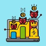 Finansiellt tillv?xtbegrepp f?r aff?r Sparande pengar som packar ihop online-vinstf stock illustrationer