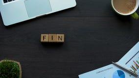 Finansiera ordet som göras av kuber, den budget- planläggningen, rapport på företagspengar, vinst stock video