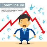 Finanskris för affärsmanShow Empty Pocket skrik royaltyfri illustrationer