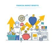 Finansmarknadfördelar Begrepp av ekonomisk tillväxthuvudstad, aktiemarknad royaltyfri illustrationer