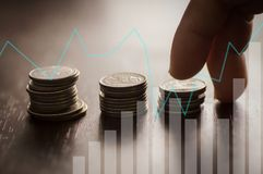 Finansowa kapitałowa bankowość i księgowości narastający up pojęcie, finge Obrazy Stock