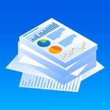Finansowa wykresu papieru ikona, isometric styl ilustracja wektor