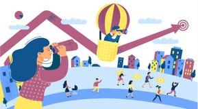 Finansowa Wzrostowa inwestycja dla Biznesowego zysku Miasto sceny grupa ludzi Inwestuje pojęcie Pośpiesza Podnosi pieniądze _ ilustracja wektor