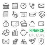 Finansowe ikony ustawiać Wektorowe płaskie kreskowe ilustracje Obrazy Royalty Free
