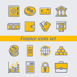 Finansowe ikony ustawiająca wektorowa ilustracja Obraz Royalty Free