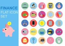 Finansowe ogólnoludzkiego mieszkania biznesowe ikony ustawiają wektorowego ilustracyjnego projekt Bank sieci symbolu zastosowanie Zdjęcia Stock