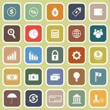 Finansowe płaskie ikony na żółtym tle Zdjęcia Stock