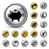 finansowe projekt ikony ustawiają sieć Zdjęcia Stock