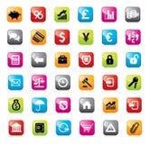 finansowe projekt ikony ustawiają sieć Obrazy Stock