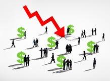 Finansowego rynku przyduszenie i Dollat waluty recesja Zdjęcie Stock