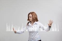 Finansowy dane pojęcie Kobieta pracuje z analityka Mapa wykresu informacja na cyfrowym ekranie fotografia royalty free