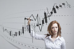 Finansowy dane pojęcie Kobieta pracuje z analityka Sporządza mapę wykres informację z Japońskimi świeczkami na cyfrowym ekranie Obraz Royalty Free