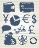 Finansowy doodle set Obrazy Royalty Free