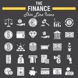 Finansowy glif ikony set, biznes podpisuje kolekcję Zdjęcia Royalty Free