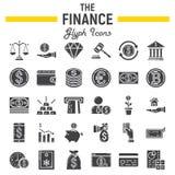 Finansowy glif ikony set, biznes podpisuje kolekcję Fotografia Royalty Free