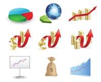 finansowy ikony pieniądze set Obrazy Stock