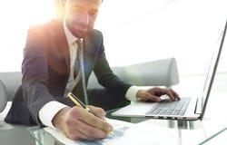 Finansowy kierownik pracuje z biznesowymi grafika na laptopie zdjęcia stock