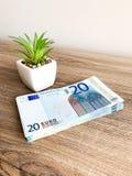 Finansowy pieni?dze Zbli?enie r?ki mienia euro waluta obraz royalty free