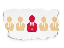 Finansowy pojęcie: czerwona biznesowego mężczyzna ikona na Poszarpanym Fotografia Stock