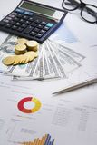 Finansowy pojęcie pieniądze, mapa, moneta, Zdjęcie Stock