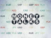 Finansowy pojęcie: Pieniądze rozmowy na Cyfrowych dane papieru tle Obraz Royalty Free