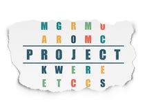 Finansowy pojęcie: słowo projekt w rozwiązywać Crossword Zdjęcie Royalty Free