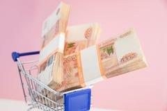 Finansowy pojęcie, wózek na zakupy z pieniądze zakupy tramwaj i rosjanina pieniądze Biznesowy pojęcie, mylna inwestycja obrazy stock