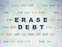 Finansowy pojęcie: Wymazuje dług na Cyfrowych dane papieru tle Fotografia Stock
