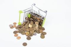 Finansowy pojęcie, monety w zakupy tramwaju Zdjęcie Stock