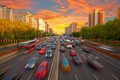 Finansowy uliczny zmierzch, Pekin linia horyzontu Obraz Royalty Free