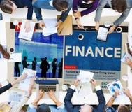 Finansredovisning som packar ihop skuldbegrepp för budget- kreditering Royaltyfri Bild