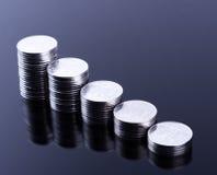 Finansreflexion och affärsvinst metallmynt Arkivfoto