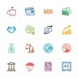 Finanssymboler - kulör serie Arkivbild