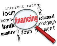 Finansujący Powiększać - szklana słowo ładunku hipoteka ilustracji