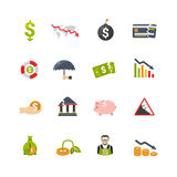 Finantial Crisis Flat Icons Set Royalty Free Stock Images