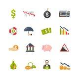 Finantial-Krisen-flache Ikonen eingestellt Lizenzfreie Stockbilder