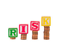Finanz-R I S K und Pennys Stockbilder