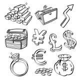 Finanz- u. Währungs-Ikonen-Satz Stockfotografie
