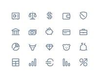 Finanz- und Bankikonen Linie Reihe stock abbildung