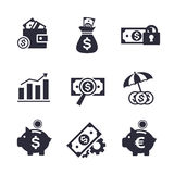 Finanz- und Bankverkehrsikonen eingestellt Stockbilder