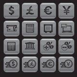 Finanz- und Geldikonen eingestellt Stockfoto