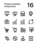 Finanza, affare, icone dei soldi per il web e pacchetto mobile 4 di progettazione Immagini Stock Libere da Diritti