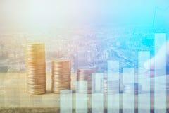 Finanza, attività bancarie capitali e concetto di investimento, doppio exporsur Fotografie Stock Libere da Diritti