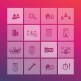 16 finanza, costi, tassa, icone della fattura messe Fotografia Stock Libera da Diritti