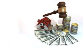 finanza 3d circa l'asta della casa con area in bianco Fotografia Stock