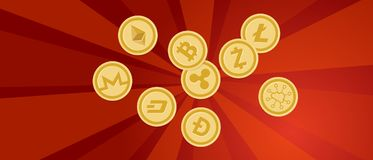 Finanza dorata di propaganda di rivoluzione della forte di colpo pezzo-moneta rossa di protesta che conta cryptocurrency digitale Fotografie Stock